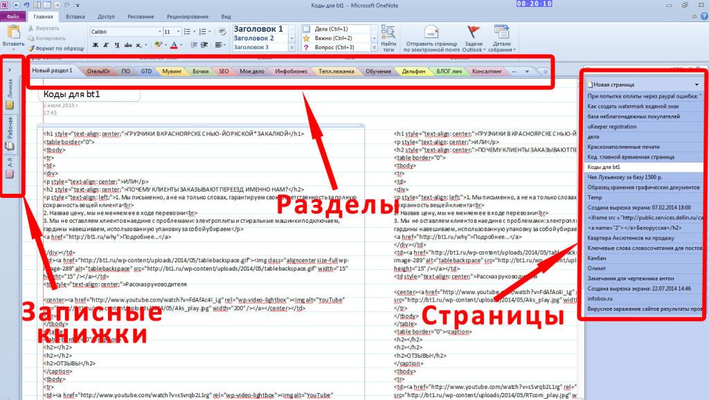 Основные элементы Microsoft OneNote