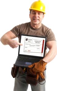 строитель с компьютером