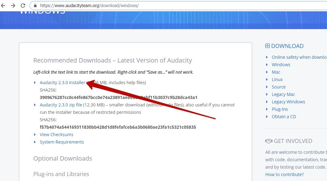 1) Установка Audacity на компьютер